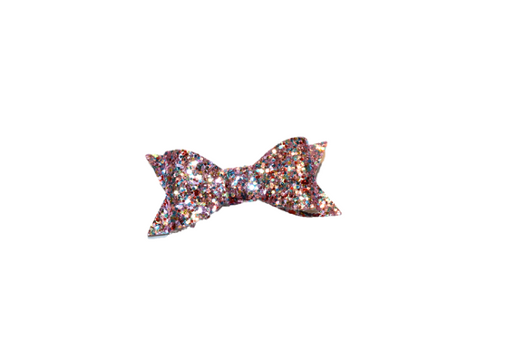 Light Purple Red Blue Glitter Leather Bow
