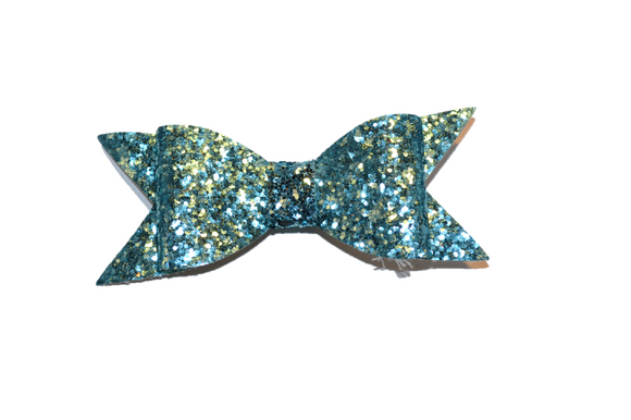 Light Blue Glitter Leather Large Bow