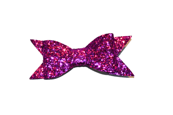 Magenta Glitter Leather Large Bow