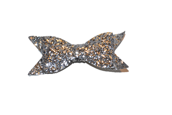 Silver Glitter Leather Large Bow - Dream Lily Designs