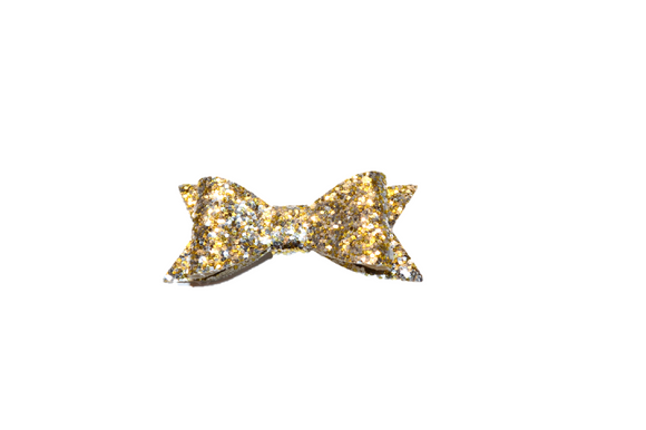 Gold Silver Glitter Leather Bow