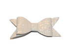 White Glitter Leather Large Bow - Dream Lily Designs