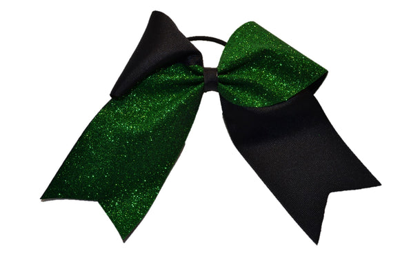 Black and Green Sparkle Cheer Bow