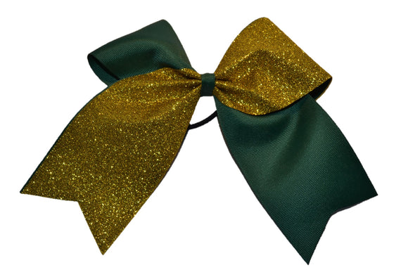 Green and Yellow Gold Sparkle Cheer Bow - Dream Lily Designs