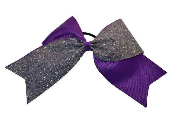 Purple and Silver Sparkle Cheer Bow - Dream Lily Designs