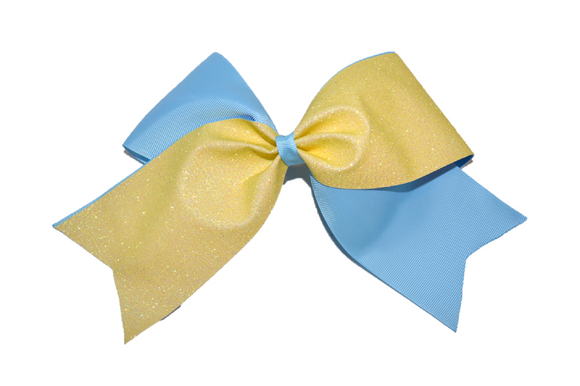 Light Blue and Light Yellow Sparkle Cheer Bow - Dream Lily Designs