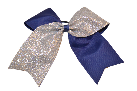 Navy Blue and Silver Sparkle Cheer Bow