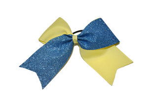 Light Yellow and Light Blue Sparkle Cheer Bow - Dream Lily Designs