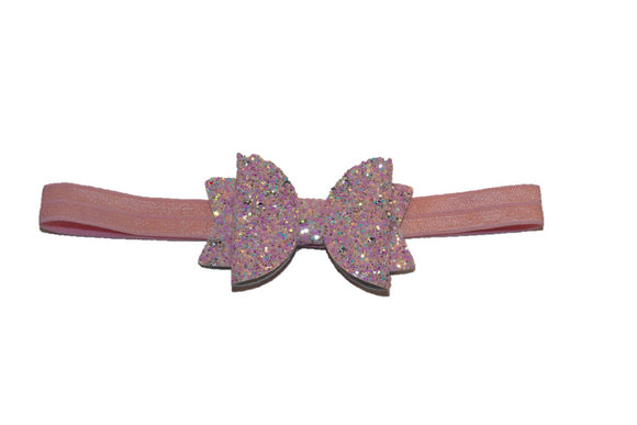 Glitter Felt Bow Headband - Pink Peach Lavender - Dream Lily Designs