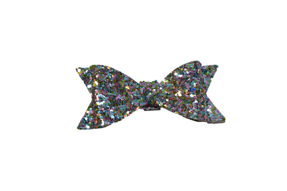 Light Blue Colorful Glitter Leather Bow