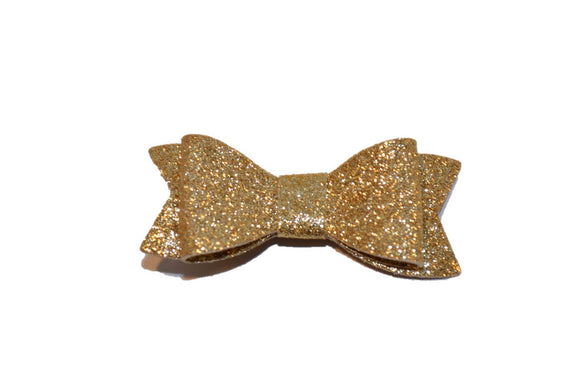 Gold Glitter Leather Bow
