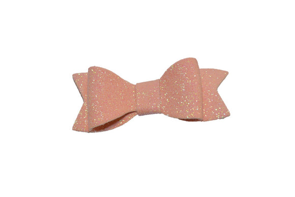 Light Pink Glitter Leather Bow