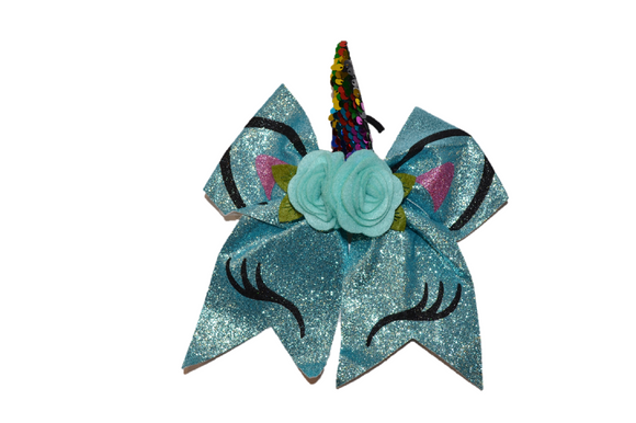 Glitter Blue Large Unicorn Bow - Dream Lily Designs