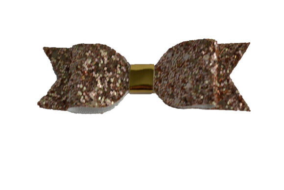 Rose Gold Glitter Leather Bow - Dream Lily Designs