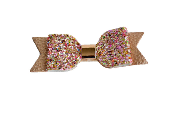 Rose Gold and Glitter Leather and Glitter Bow - Dream Lily Designs