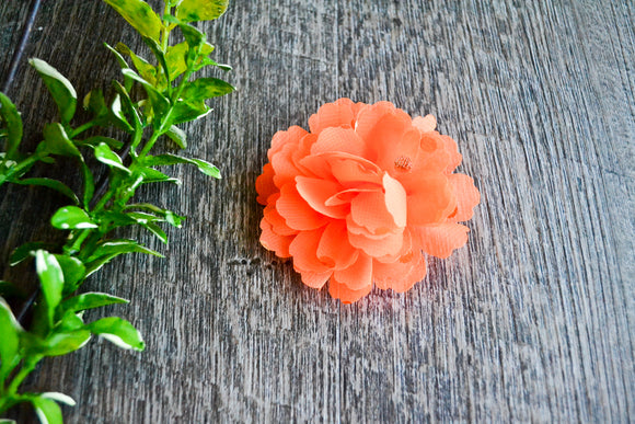 Gold Foil Polka Dot Chiffon Flower Hair Clip - Bright Orange - Dream Lily Designs