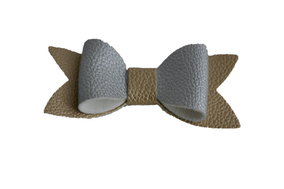 Gold Silver Leather Hair Bow - Dream Lily Designs