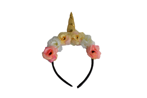 Gold Unicorn Headband with Flowers - Dream Lily Designs