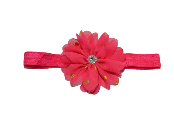 Chiffon Gold Foil Flower Headband - Hot Pink