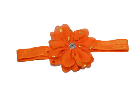 Chiffon Gold Foil Flower Headband - Orange