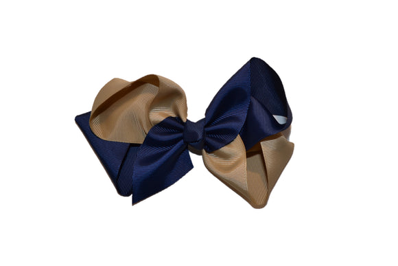 Blue Gold School Spirit 6 Inch Boutique Hair Bow - Dream Lily Designs