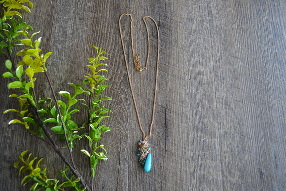 Gold with Blue and Coral Accent Beads Pendant Women's Necklace - Dream Lily Designs