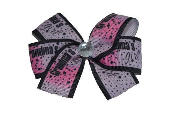 Grandmas Girl Pink Black Hair Bow (Misc Patterns) - Dream Lily Designs
