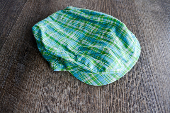 Boy Cabbie Hat, Tie and Diaper Cover Set - Green Blue Plaid - Dream Lily Designs