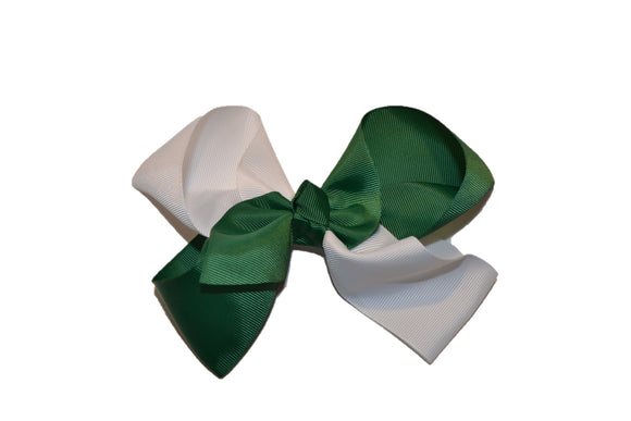 Green White School Spirit 6 Inch Boutique Hair Bow - Dream Lily Designs