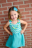 Bright Blue Pinwheel Hair Bow Clip - Dream Lily Designs