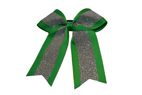 Medium Green and Silver Sparkle Cheer Bow - Dream Lily Designs