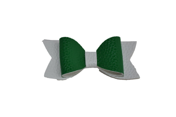 Green White Leather Hair Bow - Dream Lily Designs