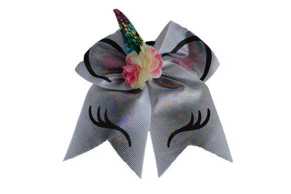 Glitter Grey Chrome Large Unicorn Bow - Dream Lily Designs