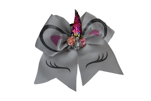 Glitter Grey Large Unicorn Bow - Dream Lily Designs