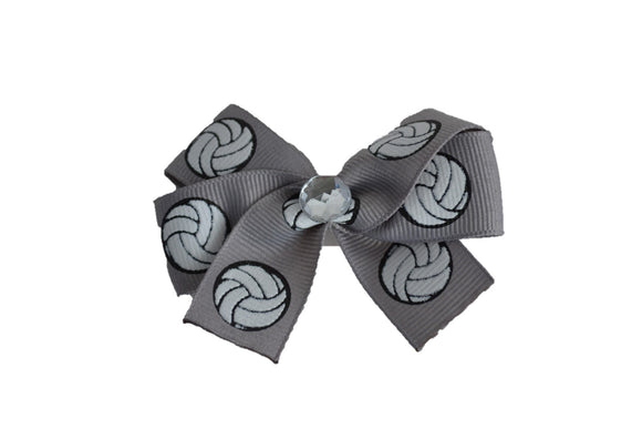 Grey Volleyball Bow (Sports) - Dream Lily Designs