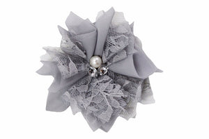 Grey Lace Crystal Pearl Flower Hair Clip - Dream Lily Designs
