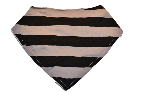 Grey and Black Stripe Bandana Bib 1