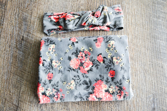 Swaddle Blanket and Headband Set - Grey and Coral Flowers - Dream Lily Designs
