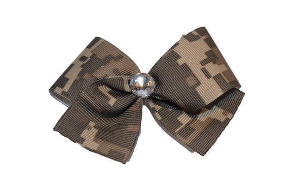 1.5 inch Green Pixel Camo Army Bow (Service) - Dream Lily Designs