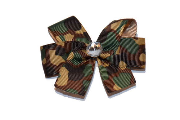 Green Tan Brown Army Camo Bow (Service) - Dream Lily Designs