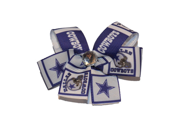 Cowboys Blue Grey Bow (Sports Teams) - Dream Lily Designs