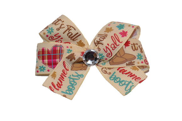 Fall Flannel Boots Glitter Leaves Bow (Fall) - Dream Lily Designs