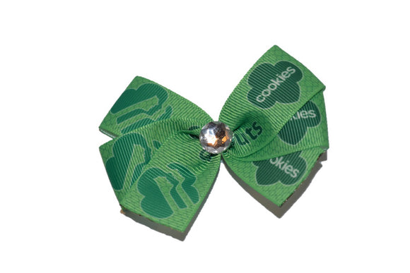 Green Girl Scout Faces Cookies Bow (Girl Scouts) - Dream Lily Designs