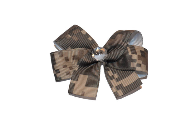 Green Pixel Camo Army Bow (Service) - Dream Lily Designs