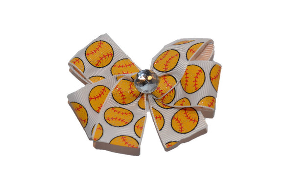 Glitter Yellow Softballs Bow (Sports) - Dream Lily Designs