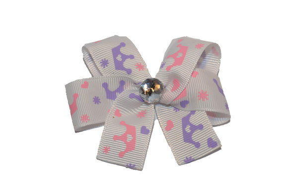 Pink Purple Princess Crown Pattern Bow (Misc Patterns) - Dream Lily Designs