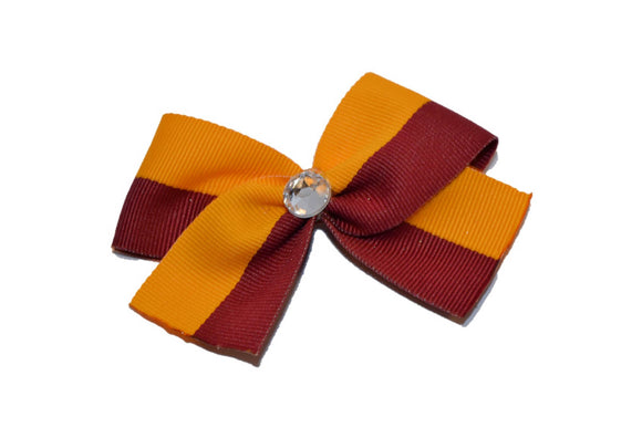 1.5 Inch Maroon Yellow Striped Bow (Stripes and Chevron)