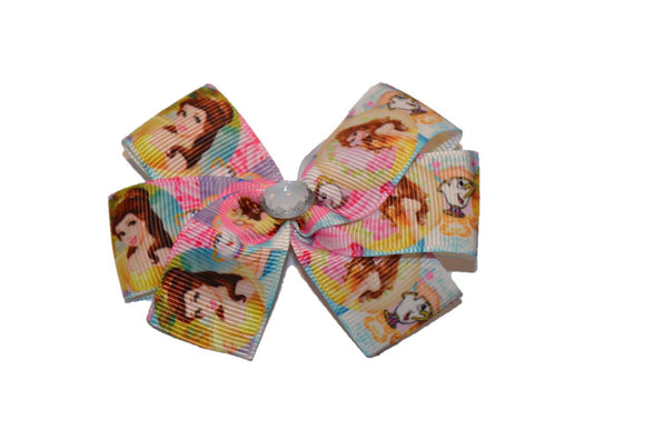 Belle Squares Beauty and the Beast Princess Bow (Disney) - Dream Lily Designs