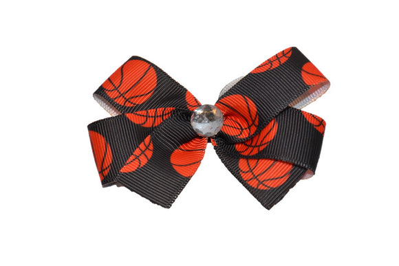 Basketball on Black Bow (Sports) - Dream Lily Designs