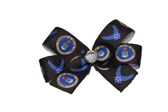 Black with Blue Seal U.S. Air Force Bow (Service) - Dream Lily Designs